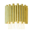 Gold Fluted Wall Light with Clear Crystal Modern Style Metal Wall Lamp for Bedroom Hallway