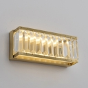 Rectangle Hallway Stair Sconce Light Metal Contemporary Wall Lamp in Gold with Clear Crystal