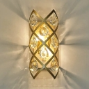 Metal Candle Sconce Light with Crystal Decoration 2 Lights Modern Stylish Wall Lamp in Gold for Hotel