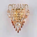 Gold Candle Sconce Light with Clear Crystal 2 Heads Luxurious Metal LED Wall Lamp for Bedroom