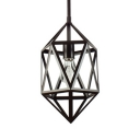 Single Head Polyhedron Cage Pendant Light Industrial Metal Hanging Light in Black for Cafe