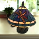 Mushroom LED Night Light 1 Light Tiffany Stained Glass Table Light with Dragonfly for Bedroom