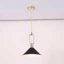 Macaron Loft Conical Suspension Light Metal 1 Bulb Candy Colored Pendant Light for Living Room
