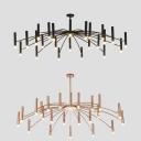 Spider Living Room Chandelier Metal 24 Lights Nordic Simple Hanging Light in Black/Rose Gold