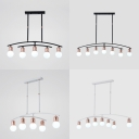 Fashion Black/White Island Light Bare Bulb 5/7 Lights Metal Island Pendant for Study Room