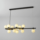 Postmodern Ring Island Light Eleven Lights Metal Island Lamp with Orb Shade in White for Kitchen