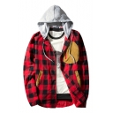 Classic Fashion Check Pattern Patched Long Sleeve Hooded Snap Button Front Coat Jacket