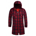 Trendy British Style Plaid Printed Hooded Long Sleeve Zip Up Longline Fitted Coat for Men