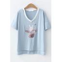 Cute Hat Rabbit Pattern Basic Round Neck Short Sleeve T-Shirt