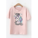 Cartoon Sequined Unicorn Basic Short Sleeve Loose Fit T-Shirt