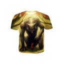 Summer Cool 3D Wolf Printed Round Neck Short Sleeve Regular Fit T-Shirt