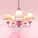 Girls Bedroom Kitty/Princess Chandelier Metal 5 Lights Lovely Pink Finish Pendant Light