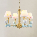 Bow Deer Kid Bedroom Chandelier Metal 4/5 Lights Modern Lovely Pendant Light in Blue/Pink
