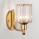 Modern Style Round Wall Light Single Light Metal Sconce with Crystal Shade in Gold for Living Room