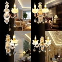 Luxurious Engraved Sconce Light with Glittering Crystal Metal 1/2 Lights Gold Wall Lamp for Living Room