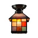 Multi-Color House Mini Ceiling Lamp 1 Head Tiffany Creative Glass Flush Ceiling Light for Child Bedroom