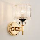 Bedroom Mirror Drum Sconce Light Clear Crystal 1 Light Modern Stylish Gold Wall Light