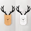 Wood Clock Shaped Wall Light with Antlers Living Room Modern Stylish Warm/White Lighting Sconce Lamp in Beige/White