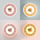 Macaron Style Round Clock Wall Lamp Metal Acrylic LED Sconce Lamp in Pink/Yellow for Girls Bedroom