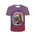 Summer Hot Popular Cool Comic Character Printed Short Sleeve Purple T-Shirt