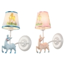 Blue/Pink Deer Wall Light 1 Light Cartoon Metal Wall Lamp with Dot Shade for Nursing Room