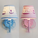Nautical Style Rudder Wall Lamp with Stripe Shade 1 Light Metal Sconce Light in Blue/Pink for Game Room