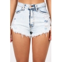 Womens Vintage Cool Light Washed Distressed Ripped Raw Hem Light Blue Denim Shorts