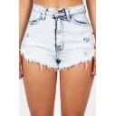 Womens Vintage Cool Light Washed Distressed Ripped Raw Hem Light Blue Denim Shorts