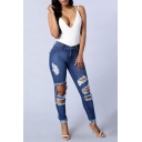 Womens Stylish Distressed Ripped Rolled Cuff Blue Slim Fit Jeans