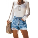 Summer Womens Hot Popular Button-Fly Destroyed Ripped Blue Denim Shorts