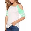 Summer Hot Popular Cold Shoulder Striped Short Sleeve Loose Fit T-Shirt