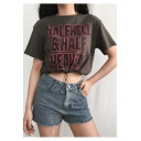 Summer Girls Cool Letter HALF HELL HALF HEAVEN Print Drawstring Hem Grey Casual Crop Tee