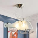 White Helicopter Suspension Light Creative Cool Metal Pendant Light for Nursing Room
