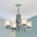 Mediterranean Style Cylinder Chandelier Metal Four Lights Blue Pendant Light for Living Room