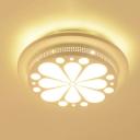Modern White Flush Ceiling Light with Flower/Tree Metal Second Gear Ceiling Lamp for Corridor