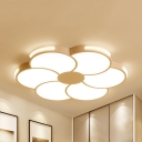 White Petal Ceiling Mount Light Simple Style Acrylic Third Gear/Warm/White Ceiling Lamp for Dining Room