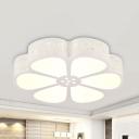 Romantic Petal LED Ceiling Mount Light Metal Acrylic Flush Light with White Lighting for Girls Bedroom