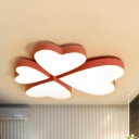 Macaron Loft Candy Colored Flush Light 4-Heart Acrylic LED Ceiling Mount Light in Warm/White for Kid Bedroom