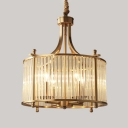 Metal Candle Pendant Light Living Room 4 Heads Traditional Chandelier in Gold with Crystal