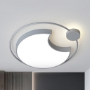 Acrylic Crescent LED Flush Mount Light Child Bedroom Macaron Loft Ceiling Light in Gray/Green/Pink