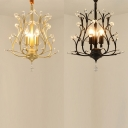 Elegant Style Twig Pendant Light with Crystal Leaf Metal 3 Lights Black/Gold Chandelier for Hotel