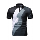 Mens Summer Fashion Color Block Short Sleeve Three-Button Slim Fitted Polo Shirt