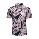Mens Hot Popular Unique Poker Card Printed Short Sleeve Black Slim Polo Shirt
