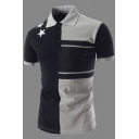 Mens Stylish Color Block Simple Star Printed Short Sleeve Fitted Polo Shirt