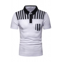 Summer Guys Simple Vertical Striped Printed Short Sleeve Slim Polo Shirt