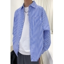 Guys Classic Trendy Vertical Pinstriped Printed Long Sleeve Casual Over Shirt
