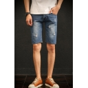 Men's Summer Cool Fashion Ripped Detail Slim Fit Denim Shorts