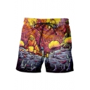 New Fashion Funny Anime Cosplay Printed Drawstring Waist Summer Beach Swim Trunks