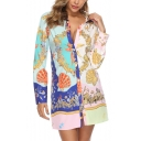 Womens Trendy Pattern Two-Tone Long Sleeve Button Down Mini Shirt Dress