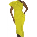 Summer Cool Designer Boutique One Shoulder Simple Plain Maxi Yellow Dress